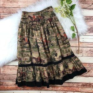 Vintage horse printed western midi skirt